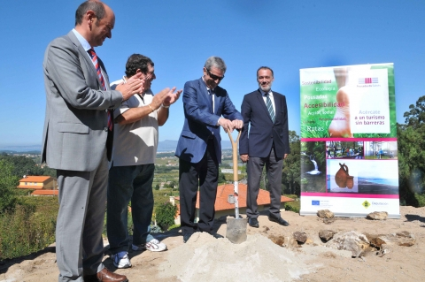 The first stone of the Pousada del Salnés Hotel in Meaño